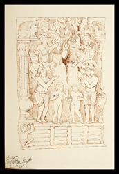 Drawing of sculpture on the stupa rail at Bodhgaya (Bihar), made by Kittoe during his investigation of the site. January 1847. 18